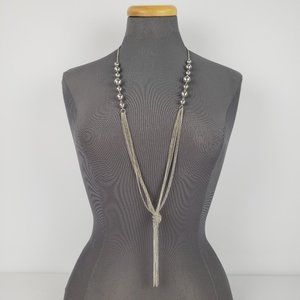 Silver Chain Bead Tassel Long Necklace